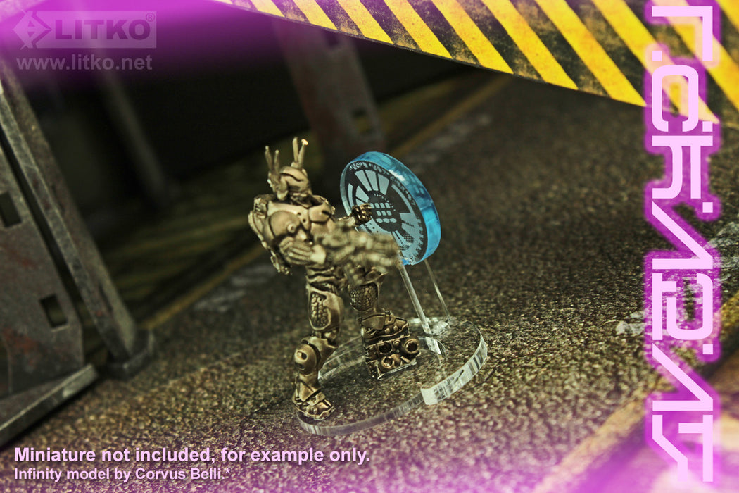 LITKO Cyberpunk Hologram Interface Markers, Transparent Light Blue (3) - LITKO Game Accessories