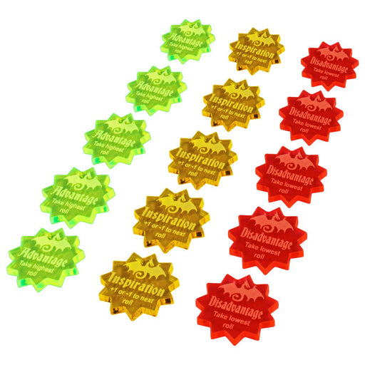 LITKO Modifier Token Set Compatible with 5th Edition, Multi-Color (15) - LITKO Game Accessories