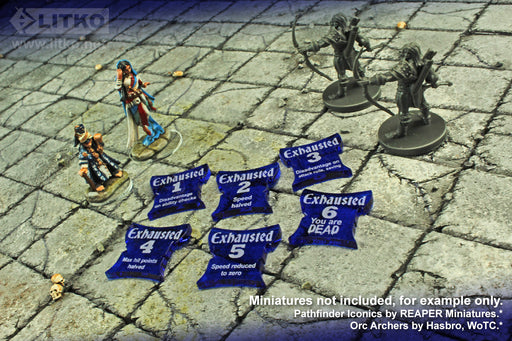 LITKO Exhaustion Token Set Compatible with 5th Edition, Translucent Blue (6) - LITKO Game Accessories