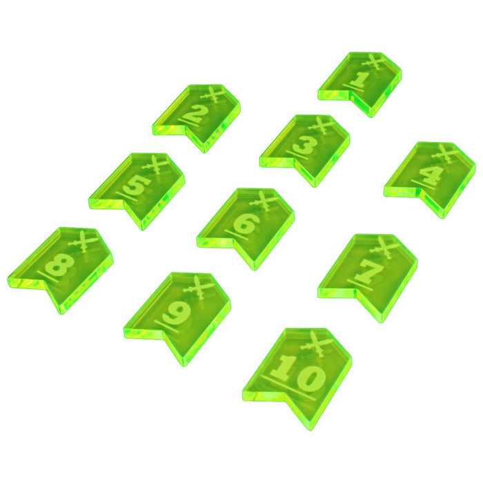 LITKO Fantasy RPG Initiative Token Set #1-10, Fluorescent Green (10) - LITKO Game Accessories