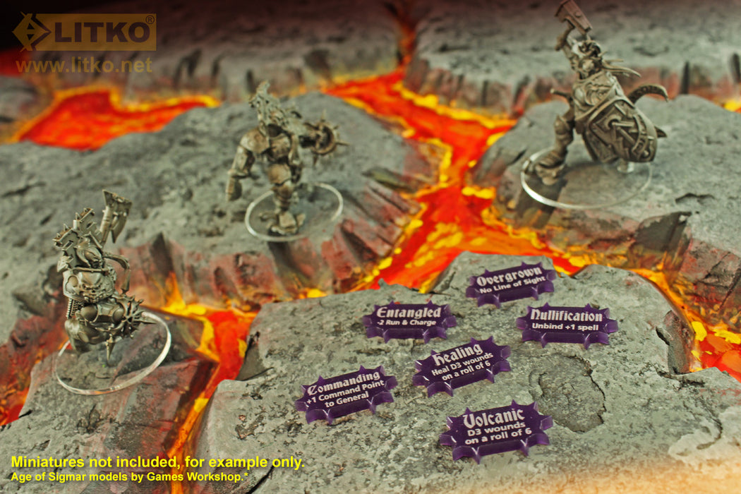 LITKO Scenery Effects Token Set, Compatible with AoS: 2019 GH, Purple (30) - LITKO Game Accessories