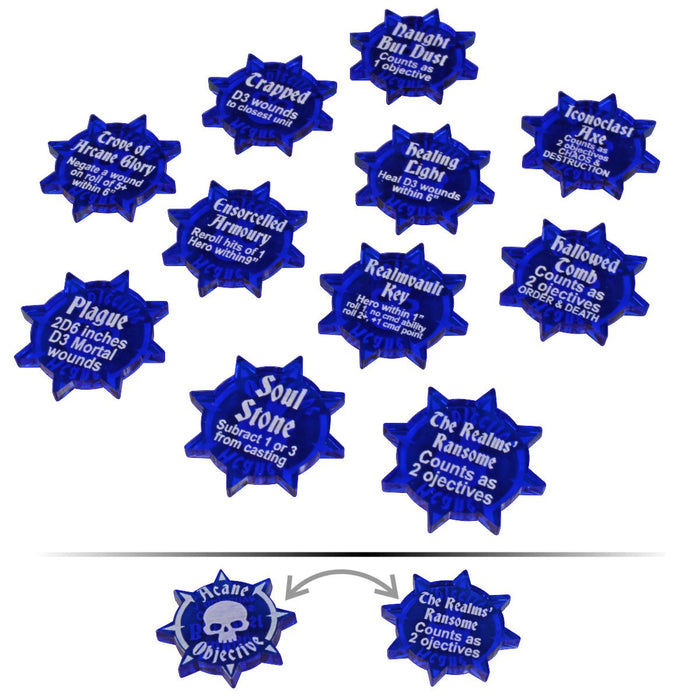 LITKO Double-Sided Arcane Objectives Token Set, Compatible with AoS: 2019 GH, Translucent Blue (11) - LITKO Game Accessories