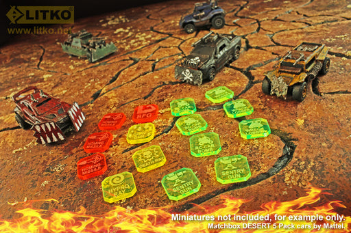 Gaslands Weapon Token Expansion Set, Multi-Colored (15) - LITKO Game Accessories