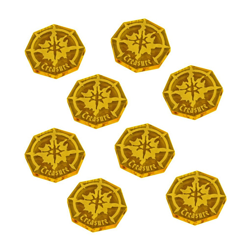 LITKO Treasure Token Set Compatible with War Cry, Transparent Yellow (8) - LITKO Game Accessories