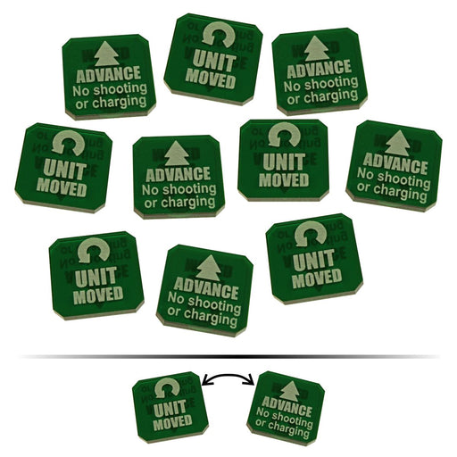 LITKO Advance / Moved Double-Sided Tokens compatible with WHv9, Translucent Green (10) - LITKO Game Accessories