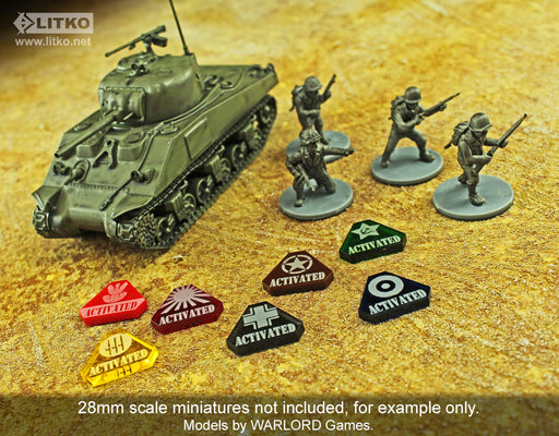 LITKO WWII American Activated Tokens, Brown (10) - LITKO Game Accessories