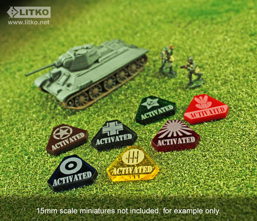 LITKO WWII Italian Activated Tokens, Transparent Yellow (10) - LITKO Game Accessories