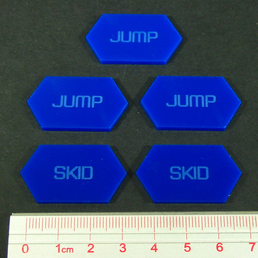 LITKO Mecha Combat Double-Sided Jump/Skid Tokens, Blue (5) - LITKO Game Accessories