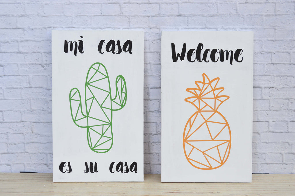 Cactus and Pineapple Wood Signs