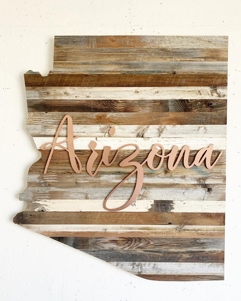 Barn Wood Copper Script Arizona Wall Art
