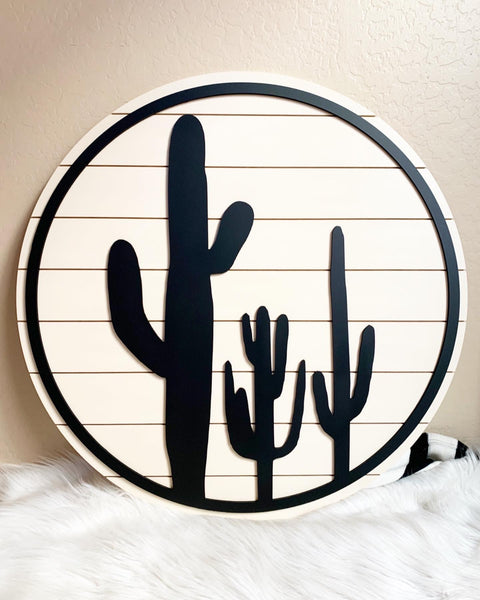 Large Circle Three Cactus Wood Sign