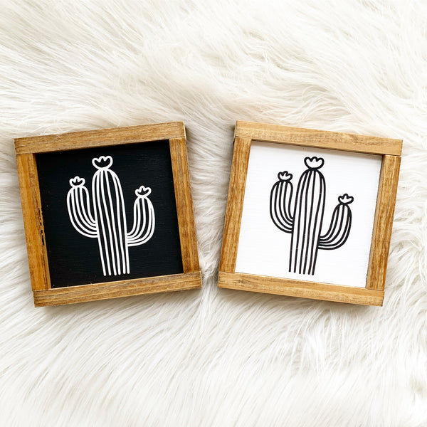 Striped Cactus Small Wood Sign