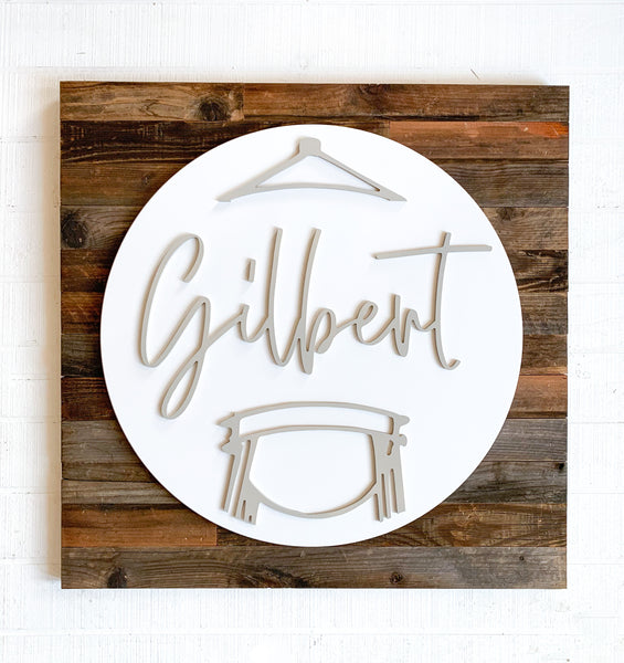 Gilbert Round Barn Wood Sign