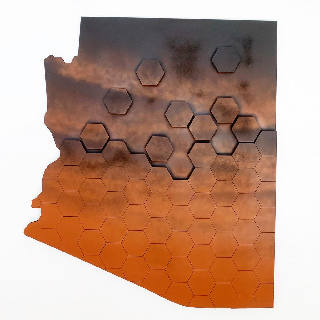 Hexagon Copper Faded Arizona Wall Art