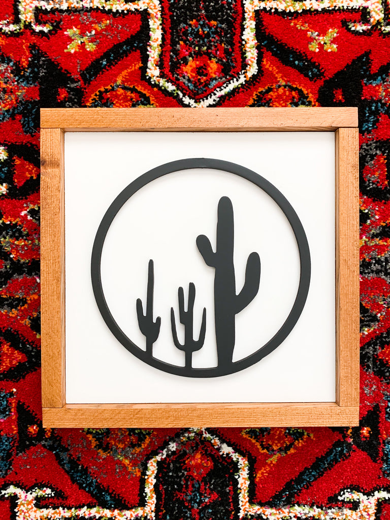 Cactus Trio Cutout Small Wood Sign