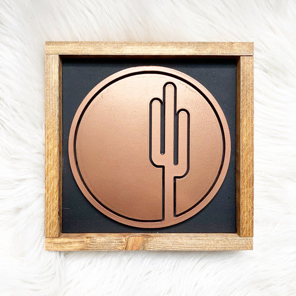 Copper Cactus Wood Sign