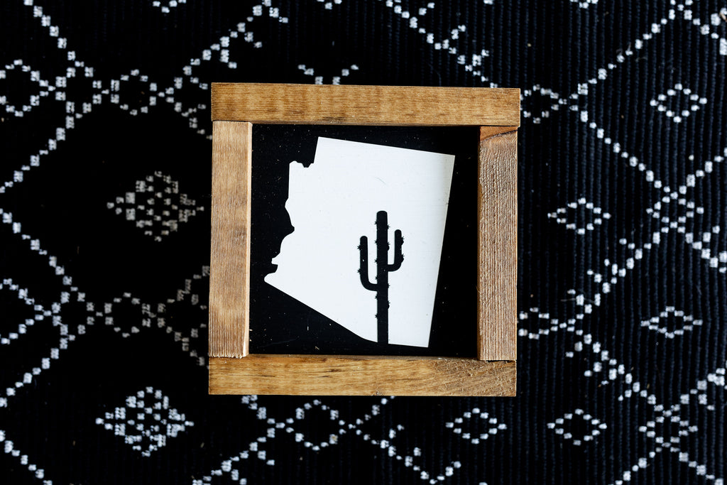 Arizona Cactus Mini Wood Sign