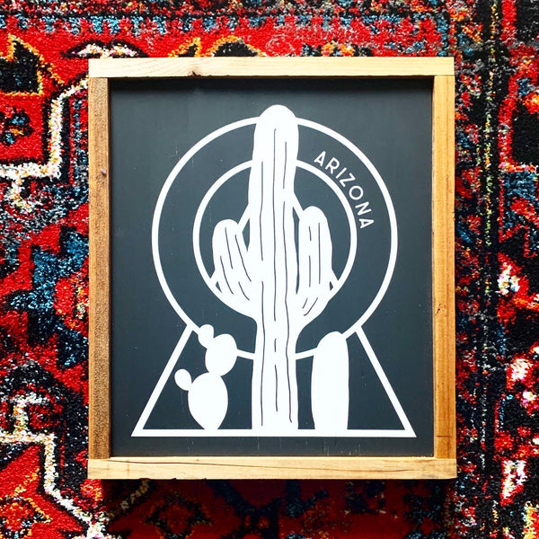 Arizona Cactus Design Wood Sign