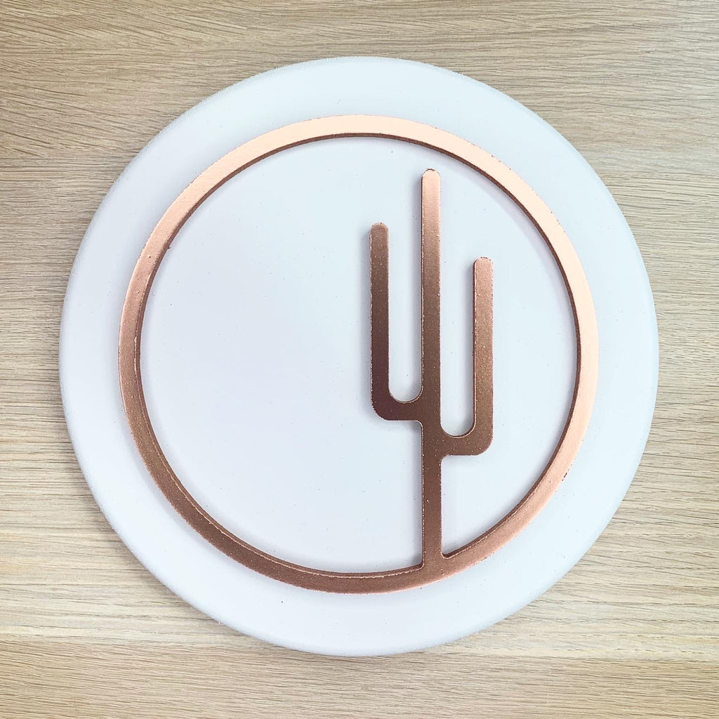 Small Painted Copper Circle Cactus Cutout Wood Sign