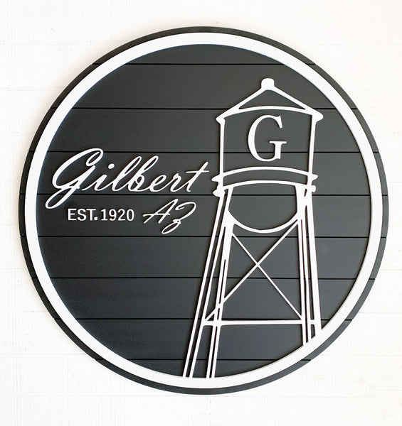 Large Circle Gilbert AZ Wood Sign