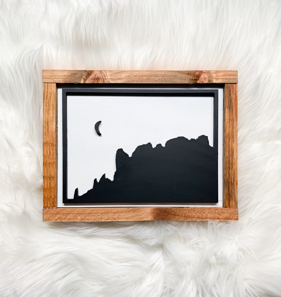Superstition Mountain Cutout Wood Sign