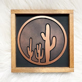 Black and Copper Cactus Wood Sign