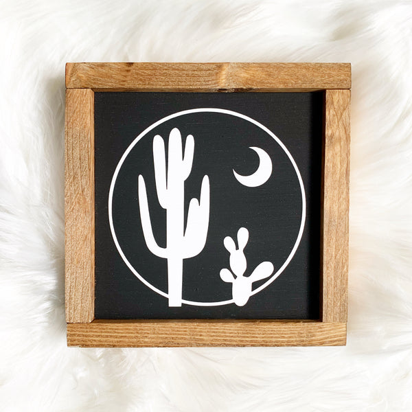 Cactus Moon Small Wood Sign