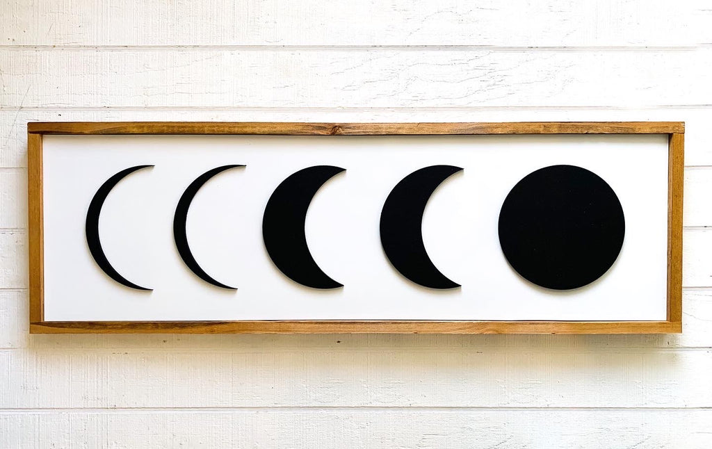 3D Moon Phases Wood Sign