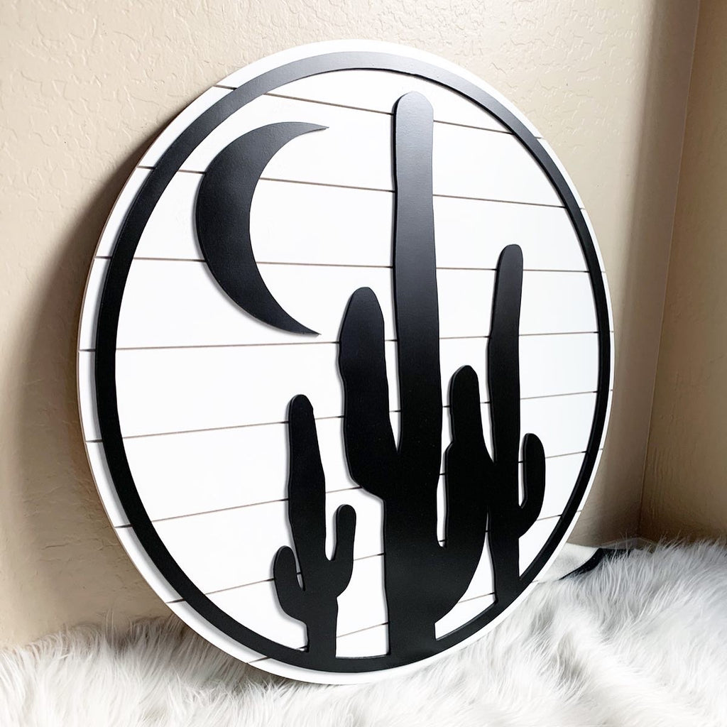 Large Circle Cactus with Moon Wood Sign