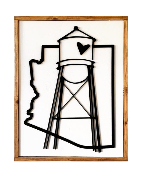 Gilbert Water Tower Cut Out Wood Sign