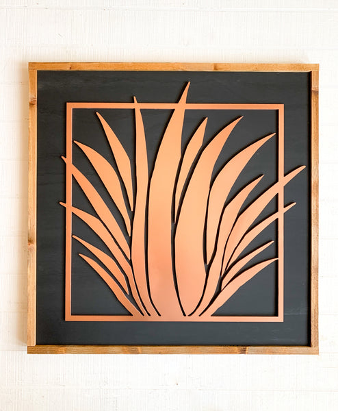 Copper Painted Abstract Desert Plant Wood Sign