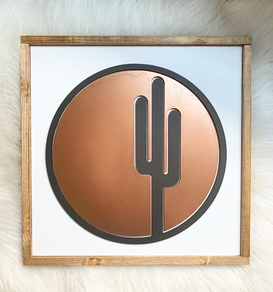 Circle Copper Cactus Wood Sign
