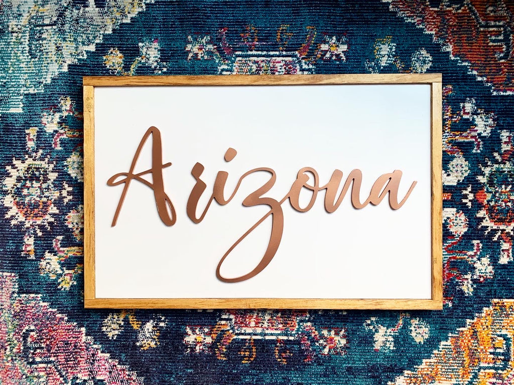 Copper Painted Raised Letter Arizona Wood Sign
