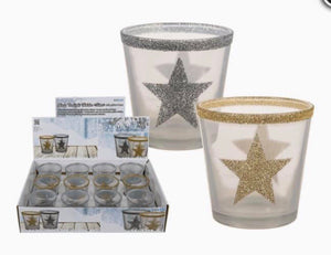 White/silver or white/gold glitter star tealight holder