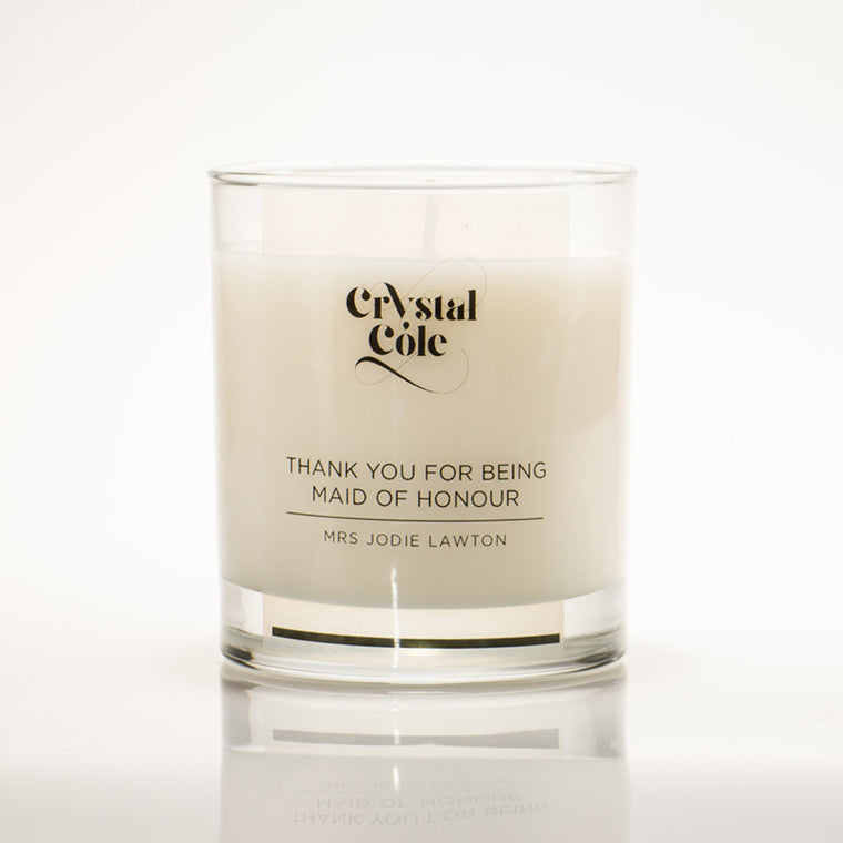 Personalised Maid of Honour scented candle gift