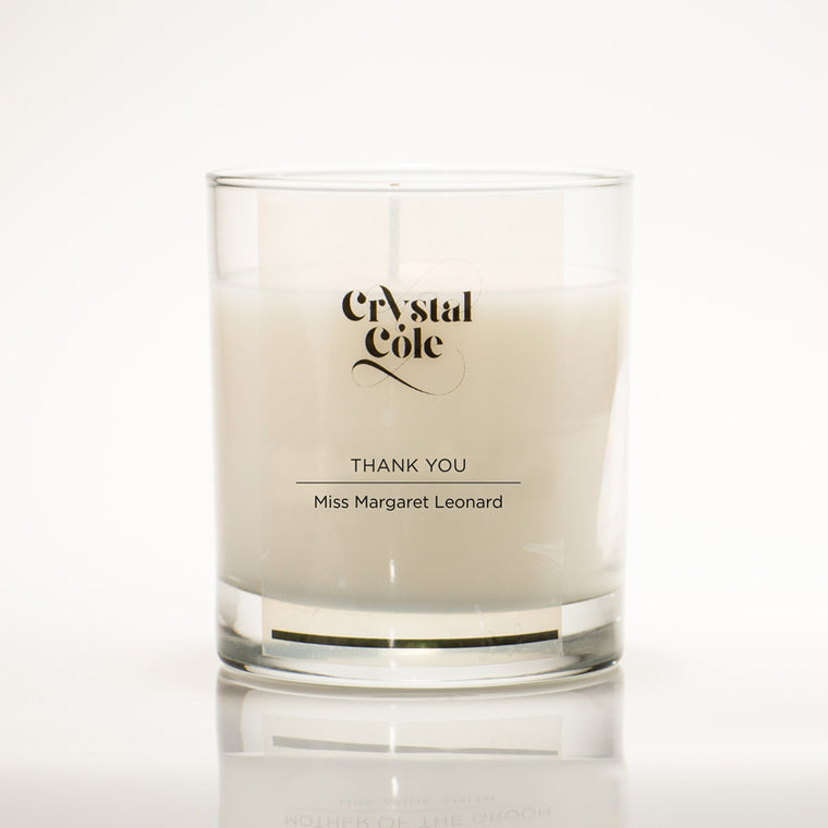 "custom ""Thank You"" scented candle gift"