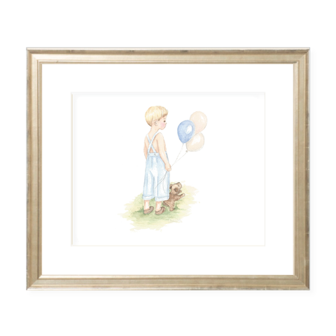 A Boy and His Puppy Blonde Landscape Watercolor Print