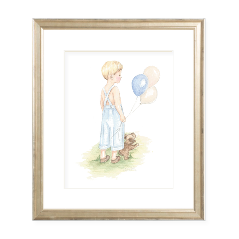 A Boy and His Puppy Blonde Portrait Watercolor Print