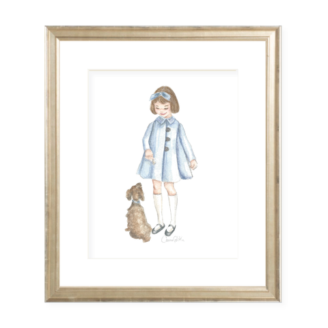 A Girl and Her Puppy Brunette with Blue Coat Watercolor Print