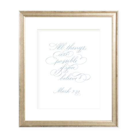 All Things are Possible Blue Calligraphy Portrait Watercolor Print