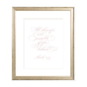 All Things are Possible Pink Calligraphy Portrait Watercolor Print