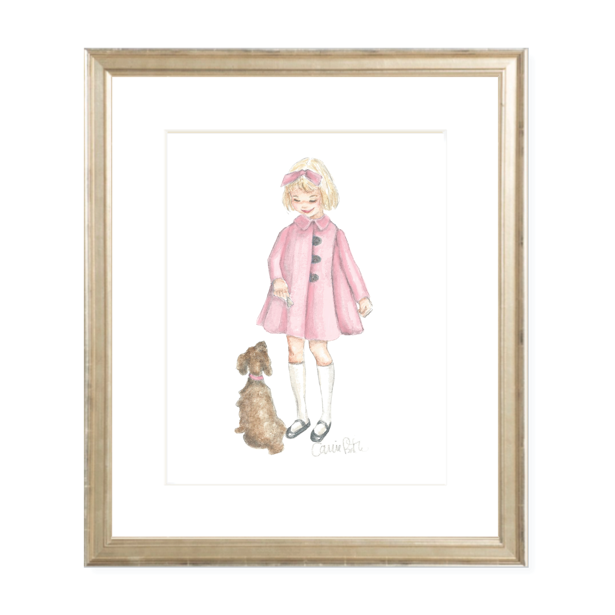 A Girl and Her Puppy Blonde with Pink Coat Watercolor Print