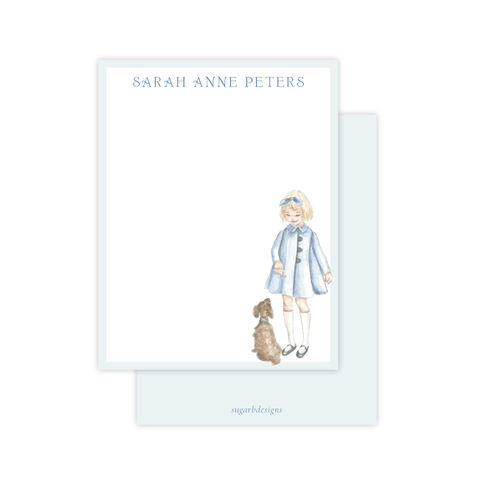 A Girl and Her Puppy Flat Stationery