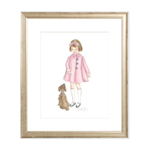 A Girl and Her Puppy Brunette with Pink Coat Watercolor Print