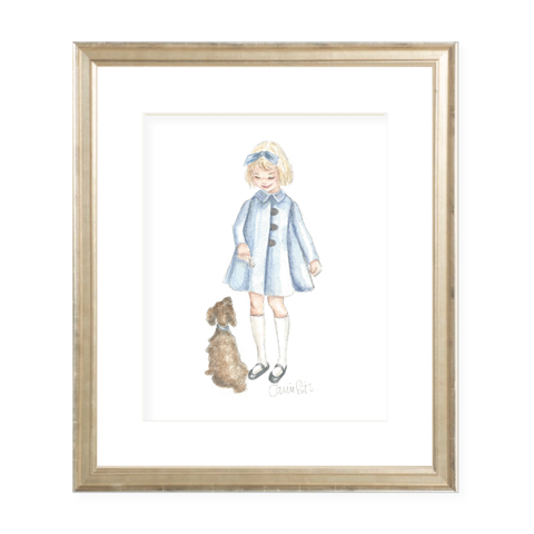 A Girl and Her Puppy Blonde with Blue Coat Watercolor Print