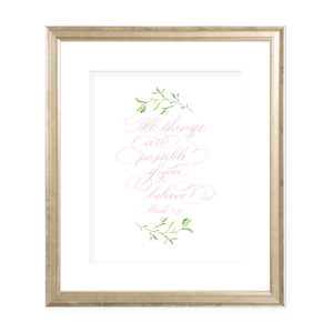 All Things are Possible Pink Calligraphy with Garland Portrait Watercolor Print