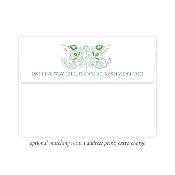 Alleluia Birth Announcement Christmas Card in Green