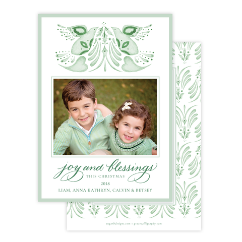 Alleluia Bird Green Change of Address Christmas Card