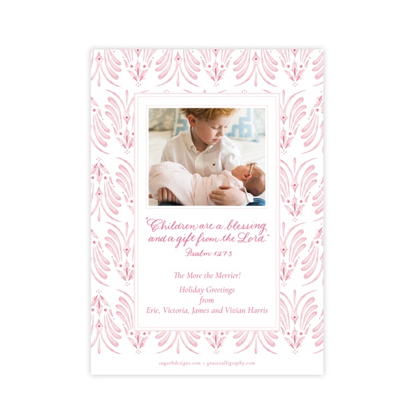 Alleluia Birth Announcement Christmas Card in Pink