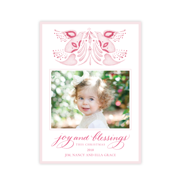 Alleluia Bird Pink Vertical Two Photo Christmas Card